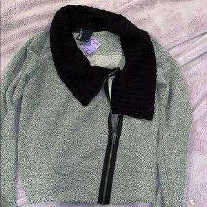 Slouchy cross zip texture fabric jacket